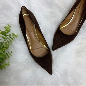 GIVENCHY Kitten Heel Suede Leather Brown Pumps